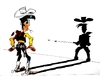 Cartoon: Fast Shadow! (small) by ARTito tagged cowboy,shadow,lucky,western,shooting,shot,comic,childhood,funny,luke
