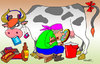Cartoon: Cow udder (small) by kranev tagged cow,eats,snickers,bounty,cocacola,rock,music,milkmaid,udder,magnifying,glass