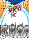 Cartoon: Breaking up of demonstration. (small) by tunin-s tagged santas,demonstrate