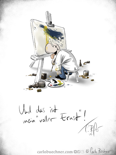 Cartoon: Mein voller Ernst! (medium) by Carlo Büchner tagged ray,2015,ernst,max,carlo,büchner,arts,satire,wortspiel,drunken,alkohol,malerei,painting,joke,pinsel,cartoon