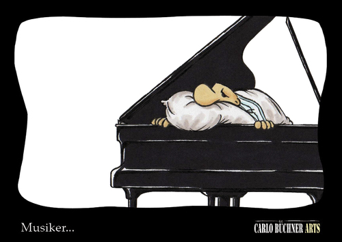 Cartoon: Musiker... (medium) by Carlo Büchner tagged musik,piano
