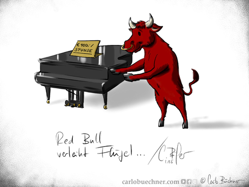 Cartoon: Red Bull verleiht Flügel (medium) by Carlo Büchner tagged red,bull,redbull,verleiht,flügel,rent,piano,mieten,verleih,bulle,stier,ochse,rot,energydrink,joke,gag,cartoon,satire,carlo,büchner,arts,ray,wortspiel,kalauer,2015