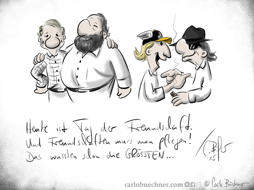 Cartoon: Tag der Freundschaft 2015 (medium) by Carlo Büchner tagged udo,lindenberg,otto,waalkes,bud,spencer,terence,hill,tag,der,freundschaft,2015,friends,buddy,friendship,love,peace,satire,cartoon,humor,statement,zeichnung,carlo,büchner,arts,ray