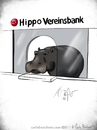 Cartoon: HippoVereinsbank (small) by Carlo Büchner tagged hippo,happy,nilpferd,flusspferd,bank,hypo,vereinsbank,tier,animal,money,2015,carlo,büchner,ray,kalauer,wortspiel,cartoon,gag,humor,joke