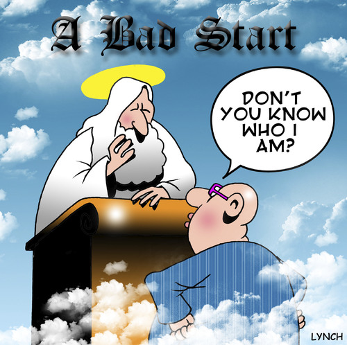 Cartoon: A bad start (medium) by toons tagged heaven,religion,god,self,importance,ego,angels,st,peter,death,afterlife