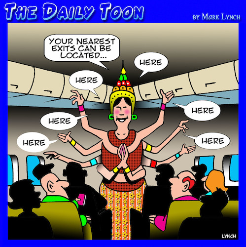 Cartoon: Air Siam (medium) by toons tagged thailand,thai,statues,siam,flight,attendant,safety,demonstration,air,travel,hostess,godess,thailand,thai,statues,siam,flight,attendant,safety,demonstration,air,travel,hostess,godess