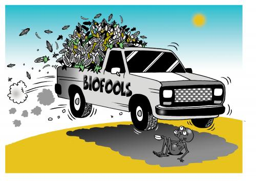 Cartoon: biofools (medium) by toons tagged biofuel,ethanol,environment,ecology,greenhouse,gases,pollution,earth,day