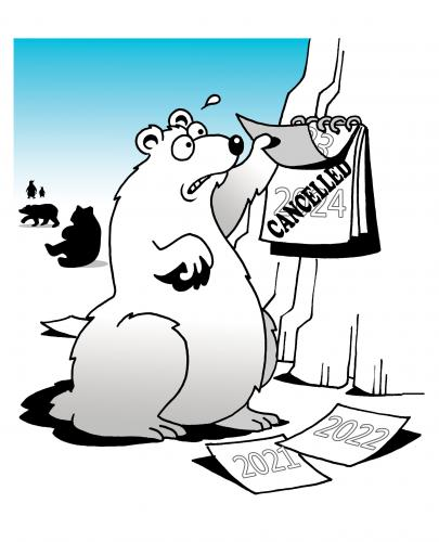 Cartoon: cancelled (medium) by toons tagged polar,bears,arctic,melting,endangered,species,fur,animals,environment,ecology,greenhouse,gases,pollution,earth,day