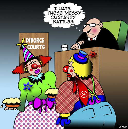 Cartoon: Custard pies (medium) by toons tagged clowns,custard,pies,custody,battles,clowns,custard,pies,custody,battles