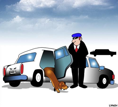 Cartoon: Dachshund limo (medium) by toons tagged dachshunds,dogs,limousine,chauffeur,pampered,pets,first,class,animals,transport,taxi,dachshunds,dogs,limousine,chauffeur,pampered,pets,first,class,animals,transport,taxi