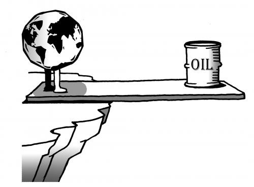 Cartoon: earth vs oil (medium) by toons tagged oil,environment,ecology,greenhouse,gases,pollution,earth,day