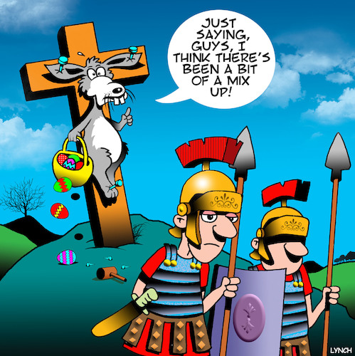 Cartoon: Easter bunny (medium) by toons tagged easter,crucifixion,bunny,rabbits,eggs,roman,soldiers,easter,crucifixion,bunny,rabbits,eggs,roman,soldiers