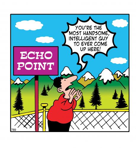 Cartoon: echo point (medium) by toons tagged echo,handsome,mountains,wilderness,vain,vanity