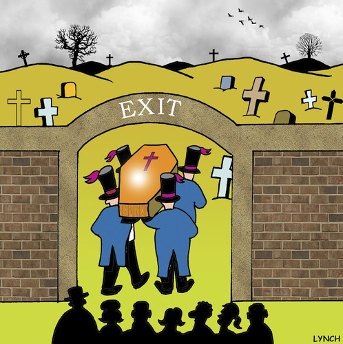 Cartoon: exit (medium) by toons tagged funerals,cemetary,coffin,corpse,exit,sign