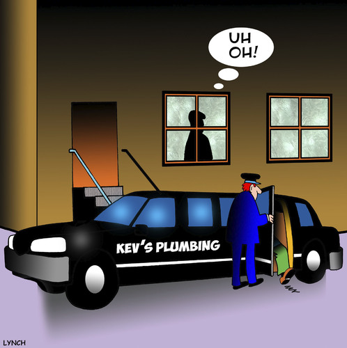 Cartoon: Expensive plumber (medium) by toons tagged plumber,stretch,limo,expensive,driver,tradesman,plumber,stretch,limo,expensive,driver,tradesman