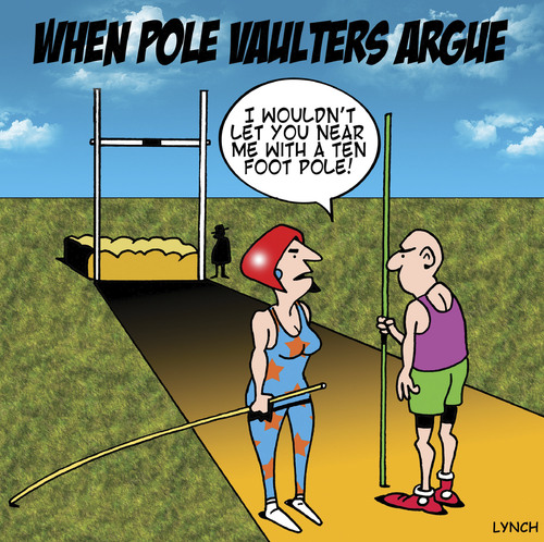 Cartoon: fighting pole vaulters (medium) by toons tagged pole,vaulting,olympics,athletics,high,jump,sport,relationships,love,divorce