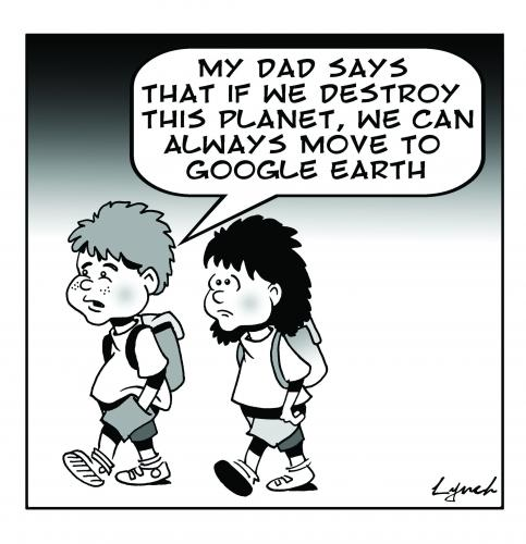 Cartoon: google earth (medium) by toons tagged environment,ecology,greenhouse,gases,pollution,earth,day