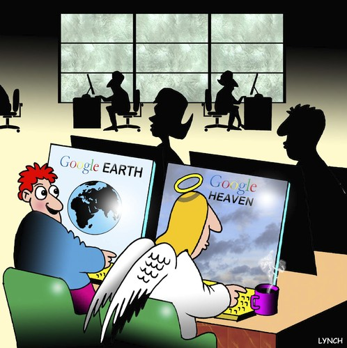 Cartoon: Google Heaven (medium) by toons tagged google,earth,sat,nav,maps,angels,heaven,computers