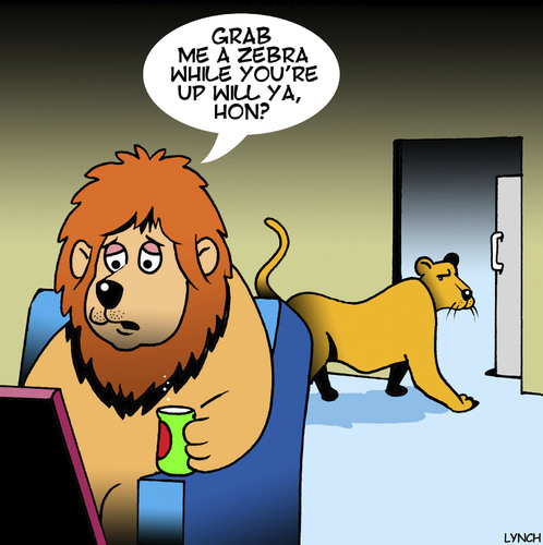 Cartoon: Grab me a zebra honey (medium) by toons tagged lions,king,of,the,jungle,big,game,hunting,pride,men,zebra,hon,animals,lions,king,of,the,jungle,big,game,hunting,pride,men,zebra,hon,animals