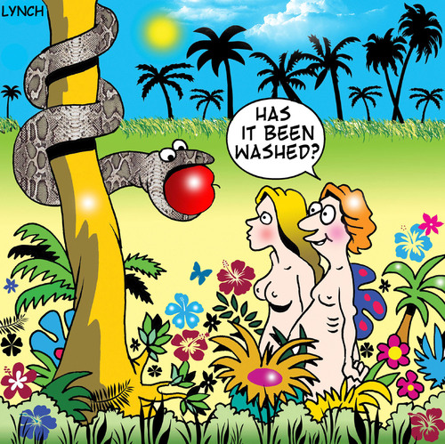 Cartoon: Has it been washed (medium) by toons tagged adam,and,eve,serpent,snakes,fruit,apples,garden,of,eden,organic,jungle,bible,cleanliness