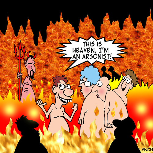 Cartoon: Heaven (medium) by toons tagged heaven,hell,arson,fire,sinner