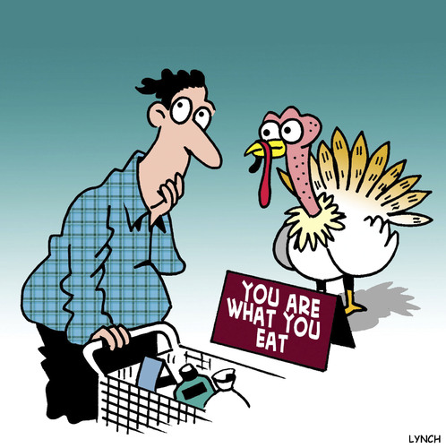 Cartoon: Hello turkey (medium) by toons tagged thanksgiving,turkey,food,poultry,supermarket,shopping