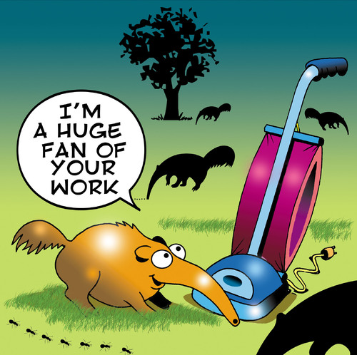 Cartoon: Huge fan (medium) by toons tagged anteater,animals,vacume,cleaner,broom,ants,sucking,big,fan,kitchen,appliance,hoover,carpet