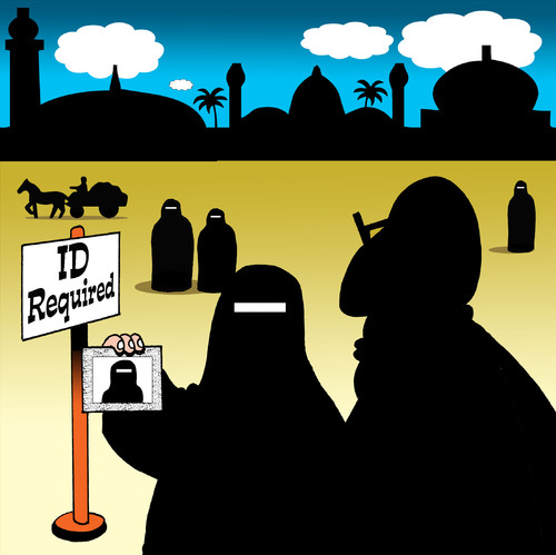 Cartoon: ID Required (medium) by toons tagged burqa,id,disco,age,women,muslim,rules,religion,identification