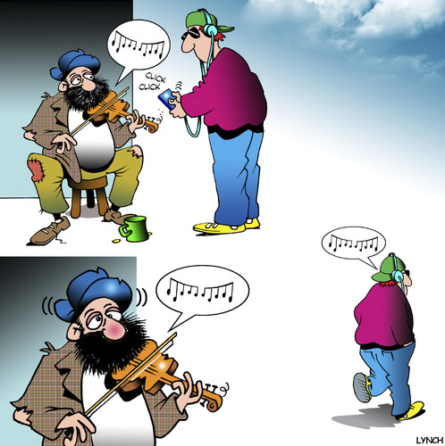 Cartoon: Illegal download (medium) by toons tagged download,music,rip,busker,violin,player,hipster,itunes,begger,online,piracy,download,music,rip,busker,violin,player,hipster,itunes,begger,online,piracy