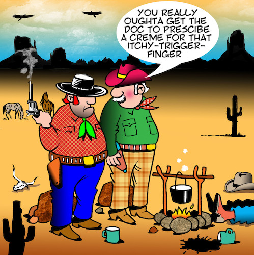 Cartoon: Itchy trigger finger (medium) by toons tagged wild,west,cowboys,outlaws,itchy,trigger,finger,rash,creme,wild,west,cowboys,outlaws,itchy,trigger,finger,rash,creme