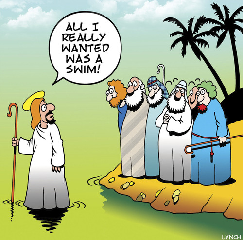 Cartoon: Jesus swimming (medium) by toons tagged walking,on,water,apostles,walking,on,water,apostles