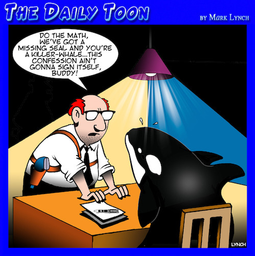 Cartoon: Killer whale (medium) by toons tagged interrogation,killer,whale,seals,police,interrogator,signed,confession,murder,interrogation,killer,whale,seals,police,interrogator,signed,confession,murder