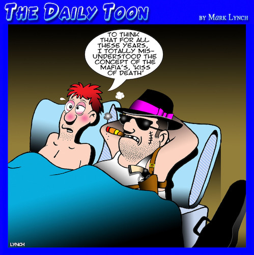Cartoon: Kiss of death (medium) by toons tagged mafia,kiss,of,death,costa,nostra,gay,mafia,kiss,of,death,costa,nostra,gay