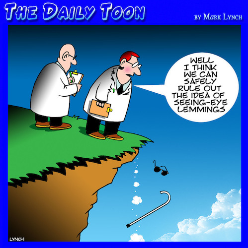 Cartoon: Lemmings (medium) by toons tagged seeing,eye,dogs,blind,lemmings,researchers,disabled,seeing,eye,dogs,blind,lemmings,researchers,disabled
