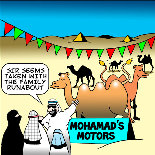 Cartoon: mohamads motors (medium) by toons tagged mohamad,cars,car,sales,vehicles,suv,arabs,desert,camels,animals