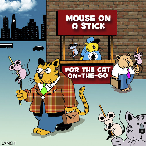 Cartoon: mouse on a stick (medium) by toons tagged cats,mice,fast,food,hot,dogs,mouse,animals,take,away