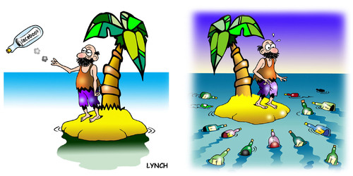 Cartoon: my new friends (medium) by toons tagged social,networking,facebook,twitter,desert,island,message,in,bottle,stranded,marooned