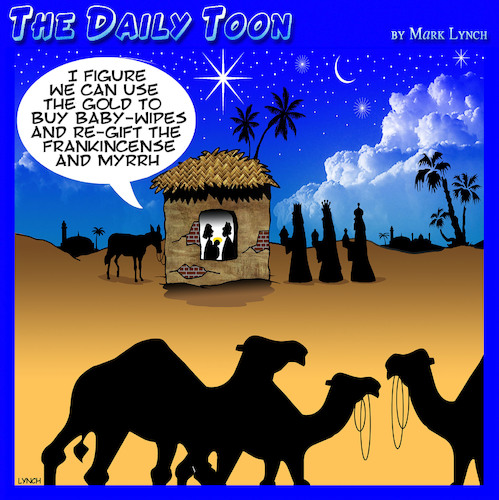 Cartoon: Nativity scene (medium) by toons tagged re,gifting,three,wise,men,re,gifting,three,wise,men