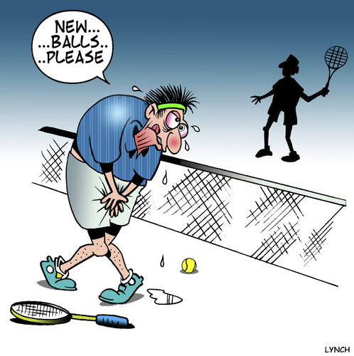 Cartoon: New balls (medium) by toons tagged tennis,balls,testicles