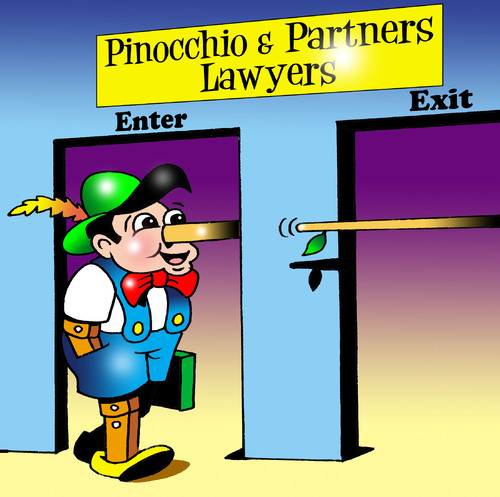 Cartoon: Pinocchio and Partners (medium) by toons tagged pinocchio,lawyers,law,judges,courts,barrister,clerk,the,bar,solicitor,defendant