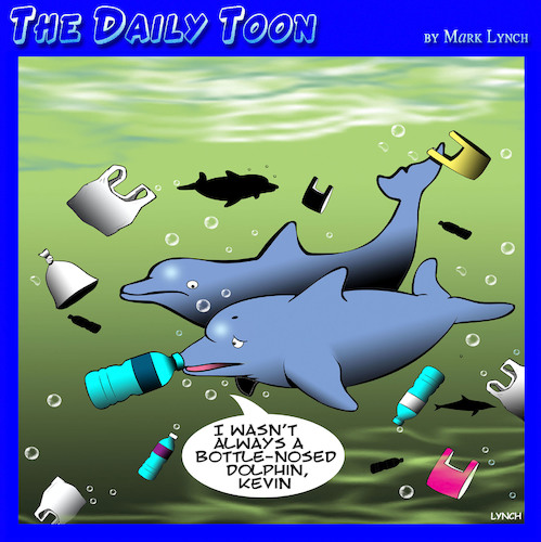 Cartoon: Polluted oceans (medium) by toons tagged polluted,oceans,dolphins,plastic,bags,global,warming,pollution,bottles,polluted,oceans,dolphins,plastic,bags,global,warming,pollution,bottles