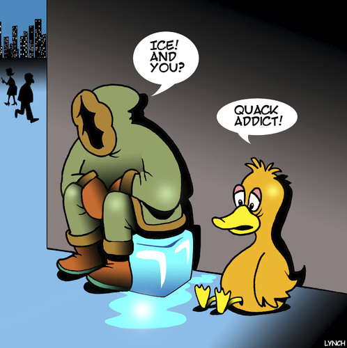 Cartoon: Quack addict (medium) by toons tagged drugs,addictions,rehab,crack,addict,ice,ducks,eskimos,animals,birds,drugs,addictions,rehab,crack,addict,ice,ducks,eskimos,animals,birds