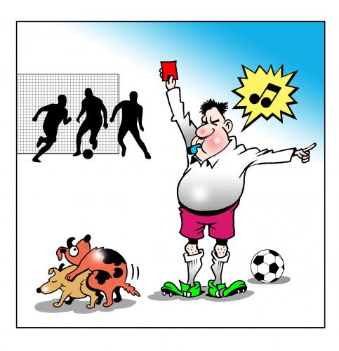Cartoon: red card (medium) by toons tagged football,soccer,dogs,copulating,doggy,style,sport,red,card,penalty,referees