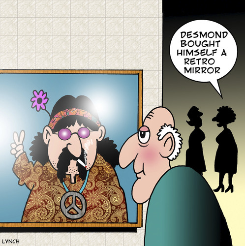 Cartoon: Retro mirror (medium) by toons tagged hippy,hippies,the,sixties,peace,love,marijuana,cannabis