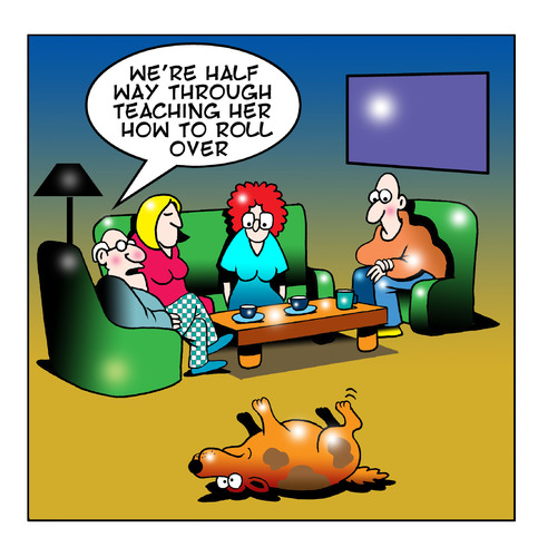 Cartoon: roll over (medium) by toons tagged dogs,canines,tricks,dog,animals
