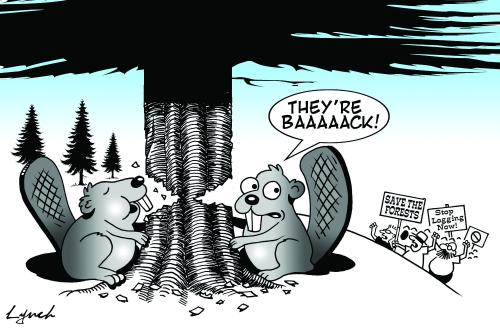 Cartoon: Save the forests (medium) by toons tagged animals,deforestation,forests,beavers,environment,ecology,greenhouse,gases,pollution,earth,day