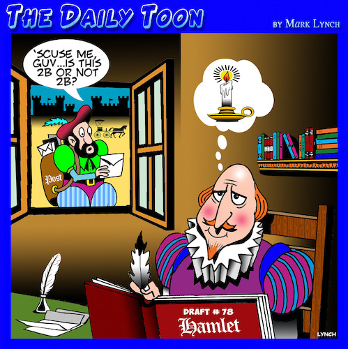 Cartoon: Shakespeare cartoon (medium) by toons tagged hamlet,shakespeare,to,be,or,not,lightbulb,moment,playwright,theatre,writers,block,globe,theater,hamlet,shakespeare,to,be,or,not,lightbulb,moment,playwright,theatre,writers,block,globe,theater