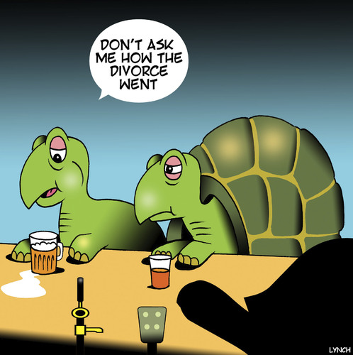 Cartoon: She got the house (medium) by toons tagged turtles,tortoise,animals,divorce,settlement,tortoise,turtles,animals,divorce,settlement