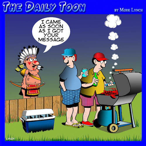 Cartoon: Smoke signals (medium) by toons tagged bbq,smoke,signals,american,indians,outdoor,cooking,texting,bbq,smoke,signals,american,indians,outdoor,cooking,texting