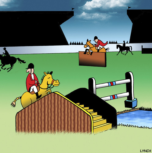 Cartoon: step by step (medium) by toons tagged equestrian,horse,jumping,olympics,hurdles,steeplechase,step